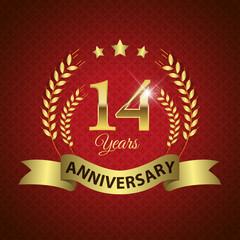 Celebrating 14 Years Anniversary, Golden Laurel Wreath & Ribbon