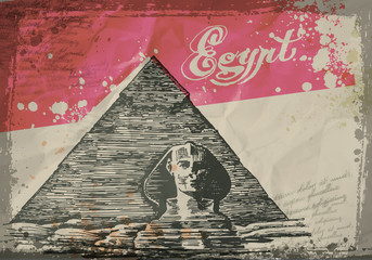 Pyramids in the desert. Hand drawn pencil sketch vector