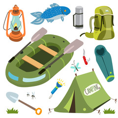 Set of camping equipment and objects in vector