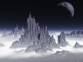 Fantasy landscape.Elements of this image furnished by NASA.