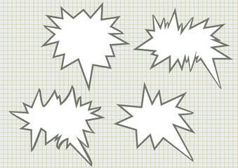 sharp speech bubbles on checkered background