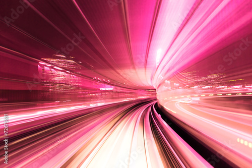 Automated guide-way train at night - 72675691