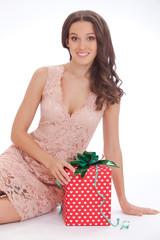 Beauty portrait of a young woman  happy dear gift