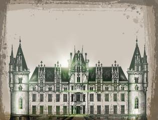 chateau, France.  Hand drawn pencil sketch vector illustration