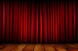 Red theater curtain and wooden floor - 72676698