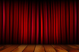 Red theater curtain and wooden floor