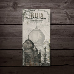 Taj Mahal. Hand drawn pencil sketch vector illustration