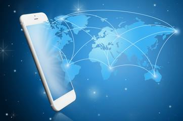 Modern smart phone witih communication map ; Tech nology concept