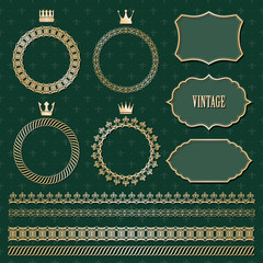 Luxury golden frames and borders set.