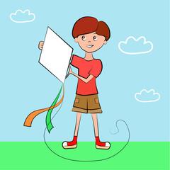 Boy holding a kite against the sky