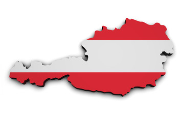 Austria Flag Map Shape