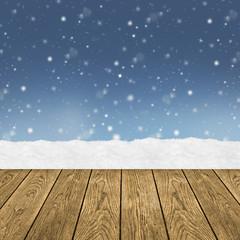 Winter / Holz / Schnee / Hintergrund