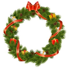 Vector Christmas Wreath with Gifts