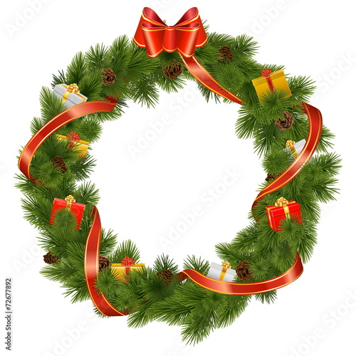 Vector Christmas Wreath with Gifts - 72677892