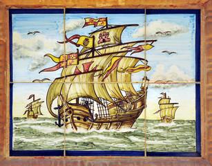 Las tres carabelas de Cristóbal Colón, azulejo