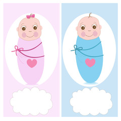 Swaddle baby, boy, girl vector greeting card