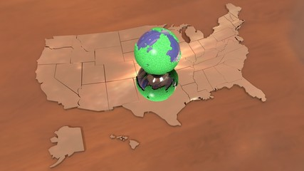 USA map specchio e planet
