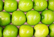 Row of green apples in supermarket.