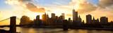 Fototapety Manhattan panorama with Brooklyn Bridge at sunset, New York