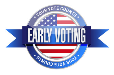 early voting seal illustration design