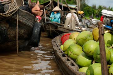 Colour swimming markets in Vietnam in the Mekongu delta