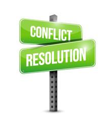 conflict resolution street sign illustration