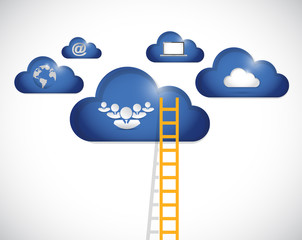 ladder to clouds teamwork illustration