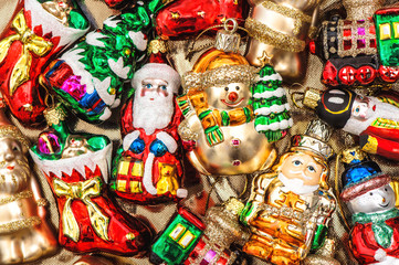 christmas tree decorations baubles, toys and ornaments