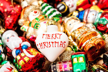 christmas tree bauble and colorful ornaments. Merry Christmas