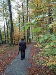 Seniorin im herbstlichen Wald