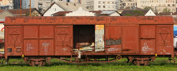 Old cargo train wagon