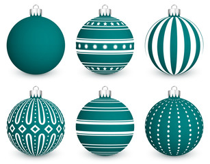 Set of green Christmas balls with pattern