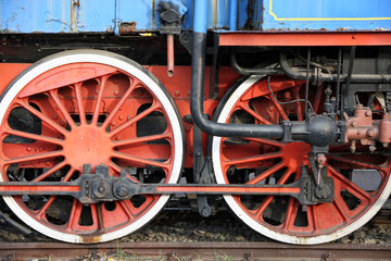 Wheels on the old train locomotive