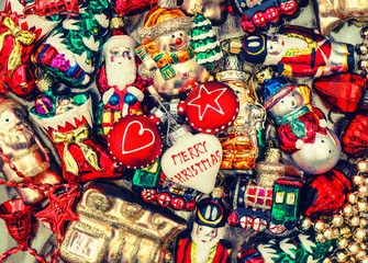 christmas baubles, toys, garlands. vintage decorations and ornam