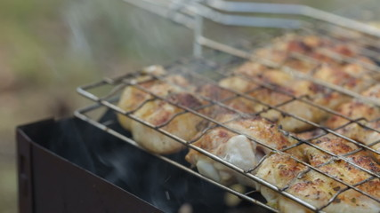 preparing barbecue chicken, slider dolly move