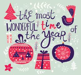 Christmas vector illustration. Holiday greeting card