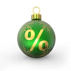 Prozent Weihnachtskugel grün mit Stern