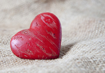 coeur sur toile de lin