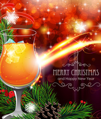 Cocktail on Christmas background