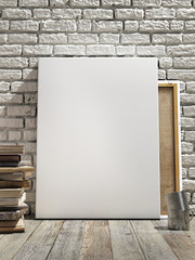 Mock up poster in white brick wall, wooden floor