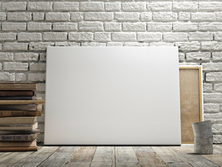Mock up poster in white brick wall,
