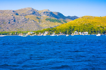 Harbor and mountains of Port de Pollenca