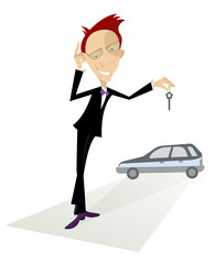 Cartoon auto dealer offers a key from the new car