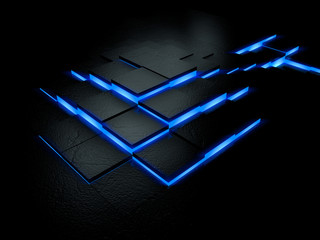 Futuristic blue floor