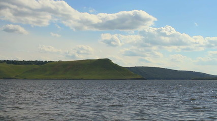 lake, hills
