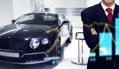 Car dealer in showroom store