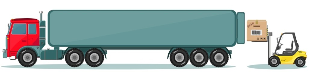 Truck and Loader with Box. Shipment Icons Set. Vector