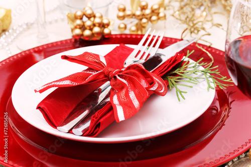 Staande foto Buffet, Bar Holiday Dinner Plate Setting