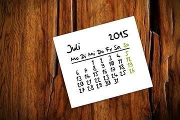 holztisch kalender jahr 2015 juli I