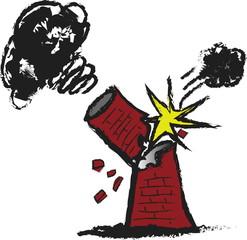 doodle ecology concept broken factory chimney